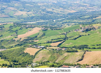 Meadows and forests background of San Marino.
