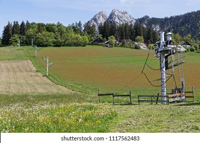 Meadows and ski resort under the Moucherotte range