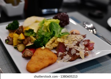 Meal concept all inclusive - all food on one plate