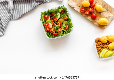 meal in lunch box to take away on white background top view mockup