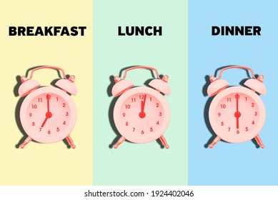 Meal schedule. Time for breakfast, lunch and dinner. Alarm clock with time for food. Correct and healthy diet. Diet and weight loss concept