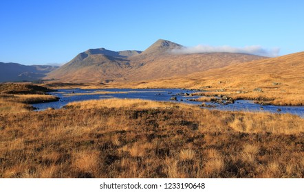 Meall a' Bhùiridh on Rannoch Moor on a fine Autumn day in Lochaber in the Scottish Highlands.