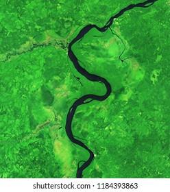 Meander - Meandering River ( River Running in Forest )