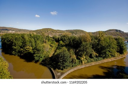 Meander of the River Lot in France in the shape of a heart. Cajarc