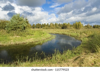 Meander of Wegorapa river, Masuria, Poland