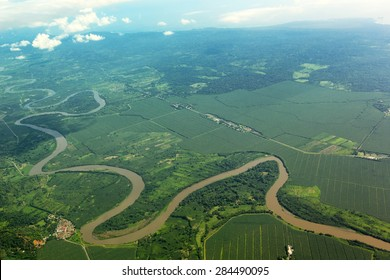Meandering river viewed from the airplane