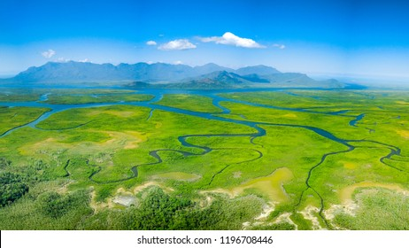 Meandering rivers and mangroves in front of Hinchinbrook Island, Queensland
