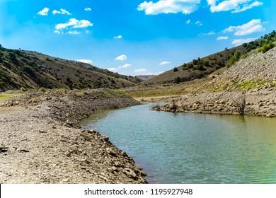 Meanders of river in valley, Ozburun, Bolvadin, Afyonkarahisar, Turkey