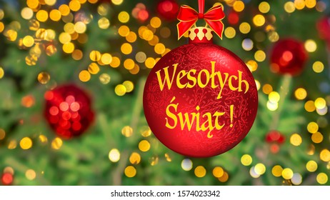 Polish Merry Christmas 2020 Means Merry Christmas Polish Language Blurred Stock Photo (Edit