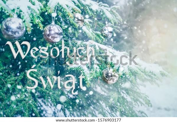 Polish Merry Christmas 2020 Means Merry Christmas Polish Language Blurred | Holidays Stock