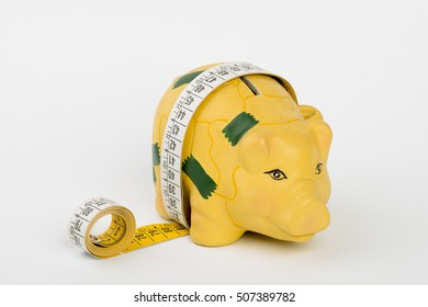Measure of a fat piggy with a meter