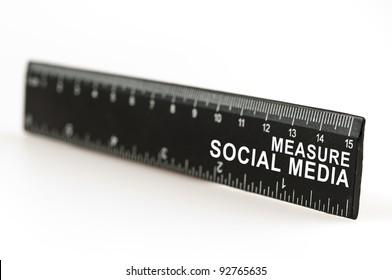 Measure social media on black ruler