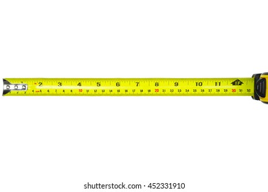 Measure Tape rolling auto carry belt clip isolated on white background,Top View . This has clipping path.