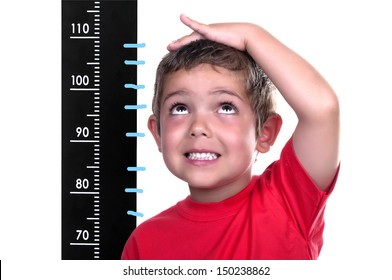 measured child on white background