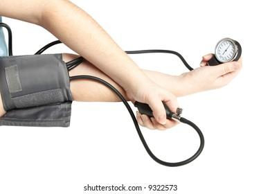 Measurement of arterial pressure. Hands