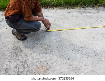measurement check distance by tape before Ferroscan concrete floor testing : Non-destructive Testing