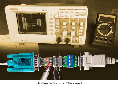 Measurement of data line signals. Display of industrial serial bus signals on the oscilloscope.