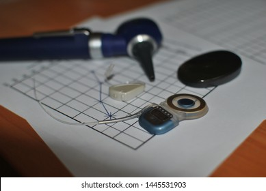 Measurement of hearing, cochlear implant, audiogram of a patient's hearing. Hearing aid and Otoscope