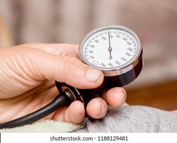 Measuring arterial blood pressure. Normal pressure of a healthy person