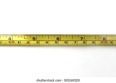 Measuring cable yellow color on white background