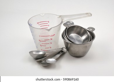 measuring cup and measuring spoon  on white background.