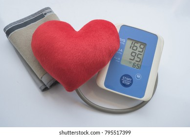 Measuring heart rate show Hypertension or High Blood Pressure.Digital blood pressure meter with love heart symbol on white background