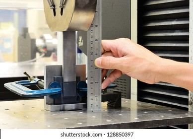 Measuring on the jig fixture shear stress specimen before test on testing machine