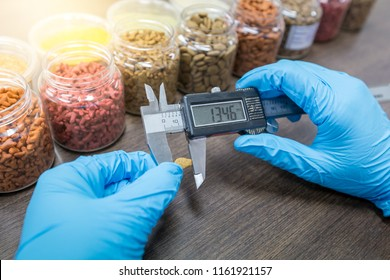Measuring pet food kibble by vernier caliper. The hand of the quality control officer is using vernier caliper measured kibble size to control quality. Quality control process in pet food industry.