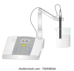 Measuring pH in a laboratory. A pH meter is a scientific instrument that measures acidity or alkalinity of a solution.