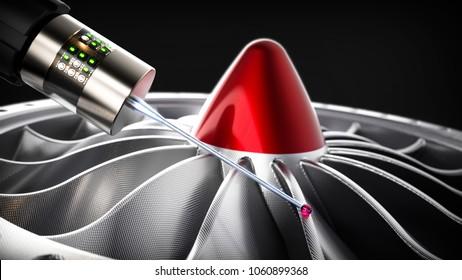 Measuring probe for measuring a turbine part sample on a CMM machine. 3D illustration.