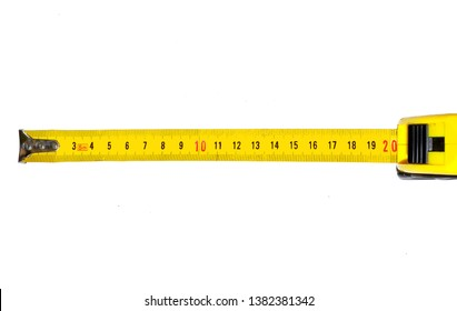 Measuring roulette 10 cm 20 cm yellow and black white