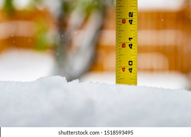 Measuring the snow depth with ruler 40 feet