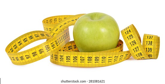 Measuring tape with apple isolated on white