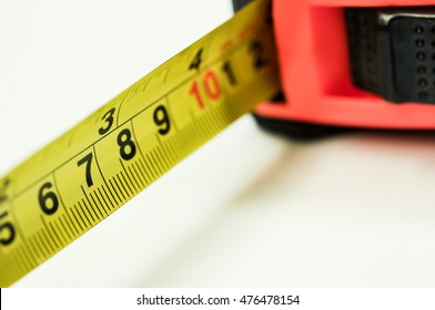 measuring tape close-up on white background