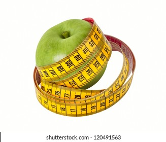 Measuring tape and fresh green apple isolated on a  white background