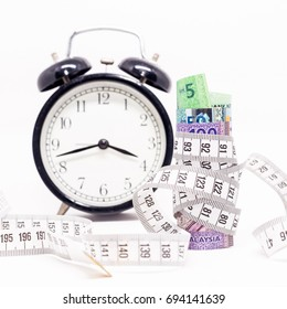 Measuring Tape tightening Malaysia Ringgit Banknotes with clock. Time & Cost Saving concept. White Background. Shallow depth of field