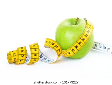 Measuring tape wrapped around a green apple. Diet concept