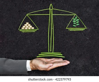 Measuring tree and golden coins on a balance scale