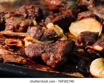 Meat baked on a baking sheet