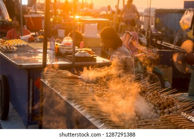 meat balls stick at the Night market and walking street at the Coast of Laemtan at the Bang Saen Beach at the Town of Bangsaen in the Provinz Chonburi in Thailand.  Thailand, Bangsaen, November, 2018