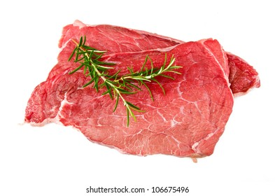 meat beef with rosemary close up on the white