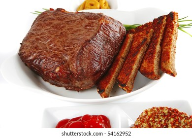 meat and bread with spices in white bowl