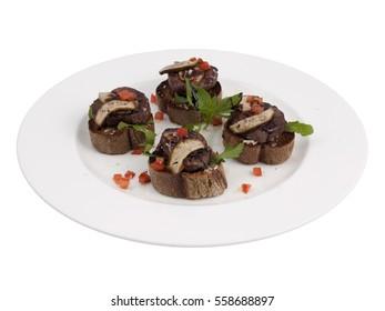 Meat Bruschetta Italian Antipasto Topped Appetizer Snack Dish Set