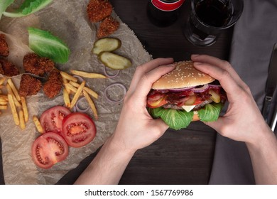 meat Burger with bacon and tomatoes