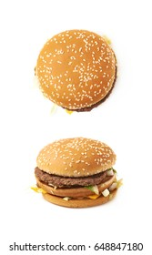 Meat and cheese burger isolated over the white background, set of two different foreshortenings