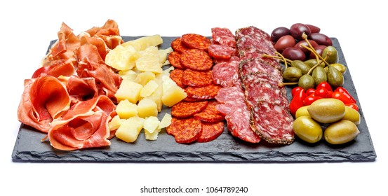 Meat and cheese plate with salami sausage, chorizo, parma and parmesan cheese