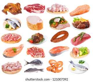 meat collection on a white background