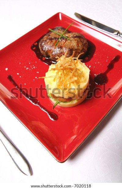 Meat Dish, Chop and Mashed Potatoes on Red Tablet