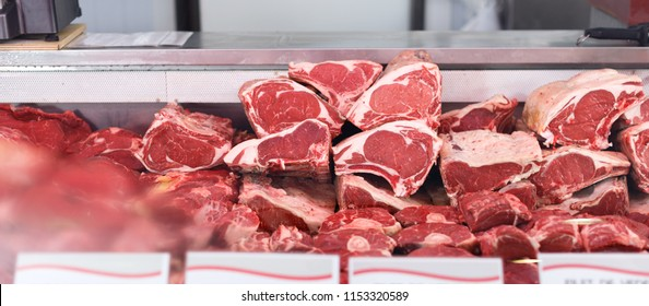 Meat displayed for sale in butcher's shop