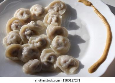 Meat dumplings. Russian pelmeni on plate